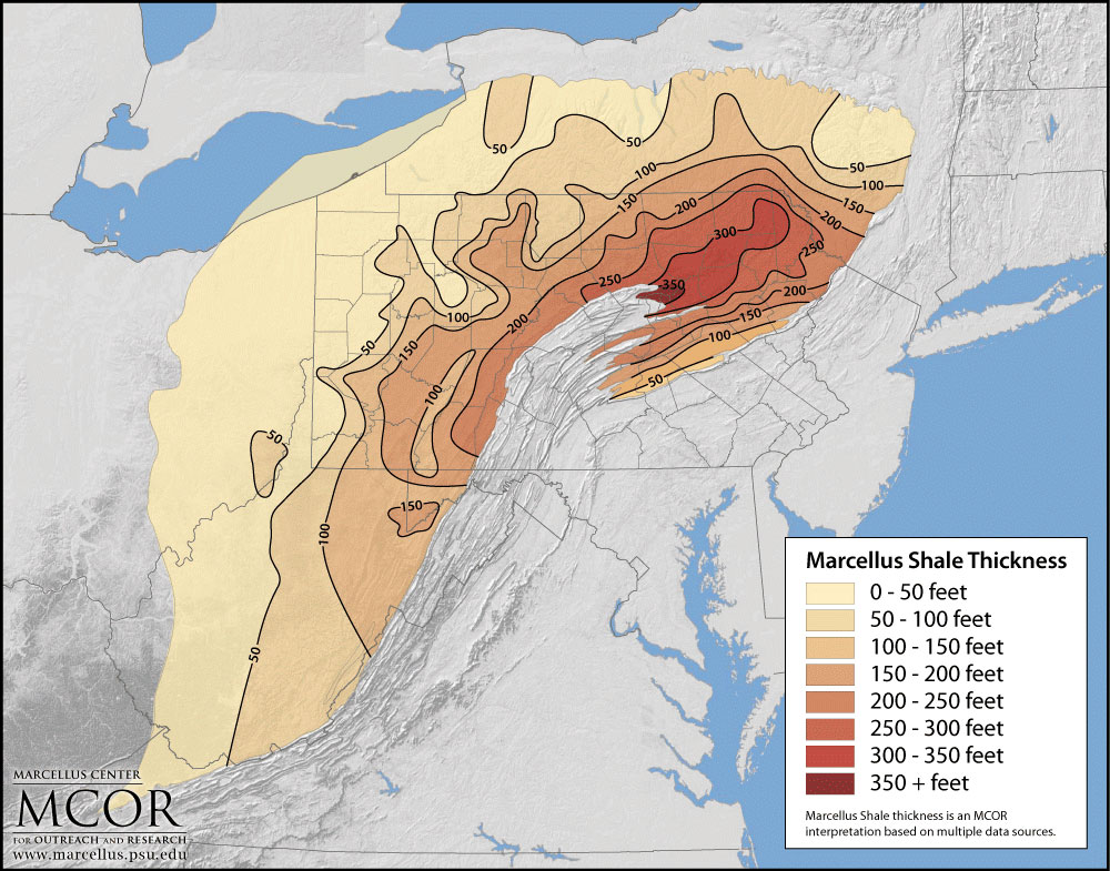 marcellus shale thickness map